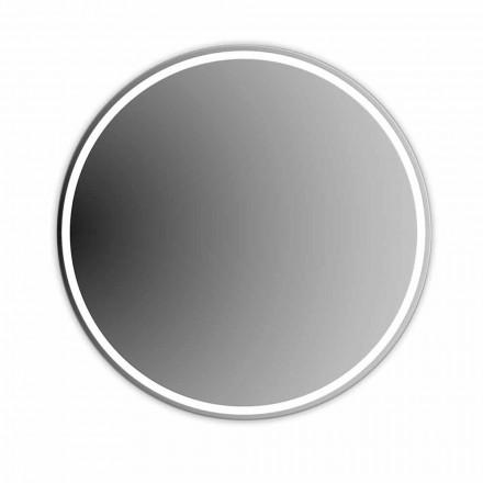 Round Backlit Bathroom Mirror with Sandblasting Made in Italy - Ranio