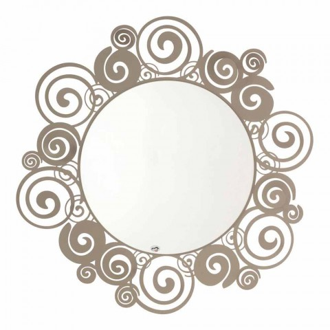 Circular Wall Mirror of Modern Design in Iron Made in Italy - Moira