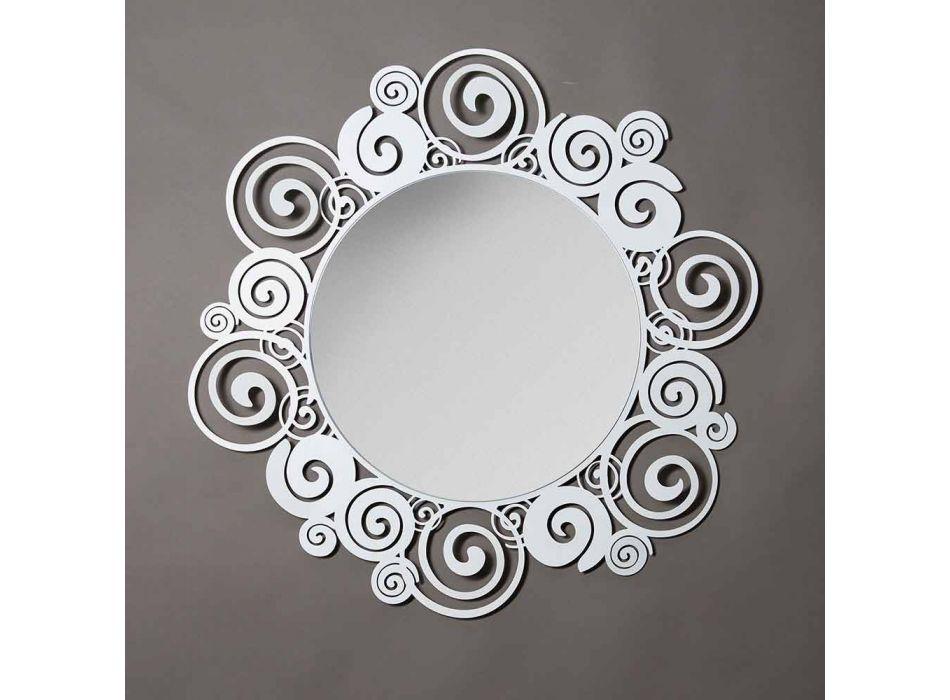 Circular Wall Mirror of Modern Design in Iron Made in Italy - Moira