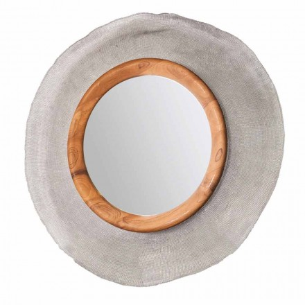 Modern circular wall mirror made with metal and teak Monno