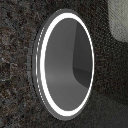 Charly LED bathroom mirror with stainless steel edges, modern design