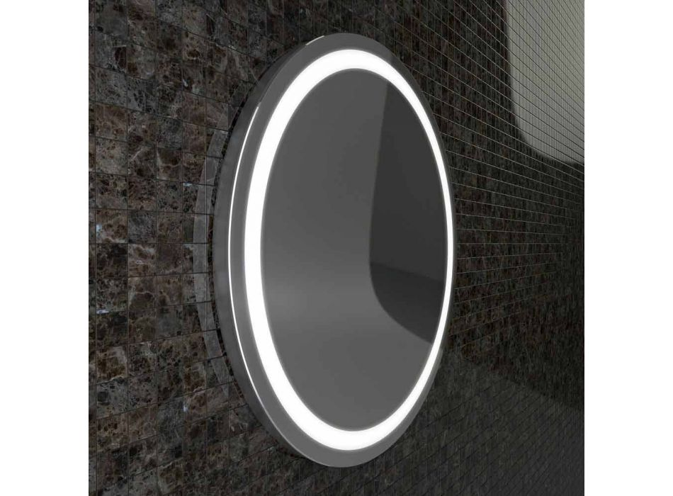 Mirror with stainless steel edges and modern design LED lights Charly