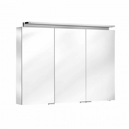 Bathroom Mirror with 3-Door Wall Unit with Internal Shelves - Bramo