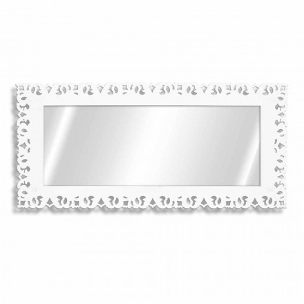 Mirror with Frame in White Plexiglass or Wood with Design Decors - Arcimboldo