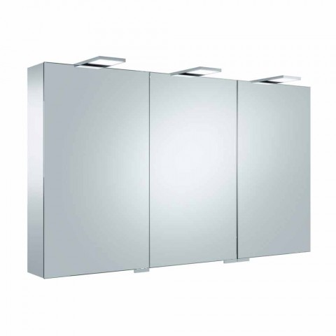 Container Mirror with 3 Doors with 9 Internal Shelves and LED Lighting - Ratchet