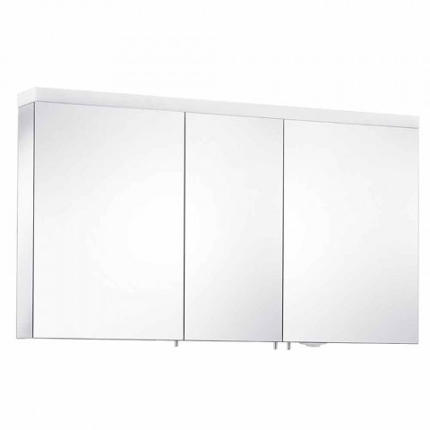 3 Door Wall Storage Mirror in Silver Painted Aluminum - Alfio