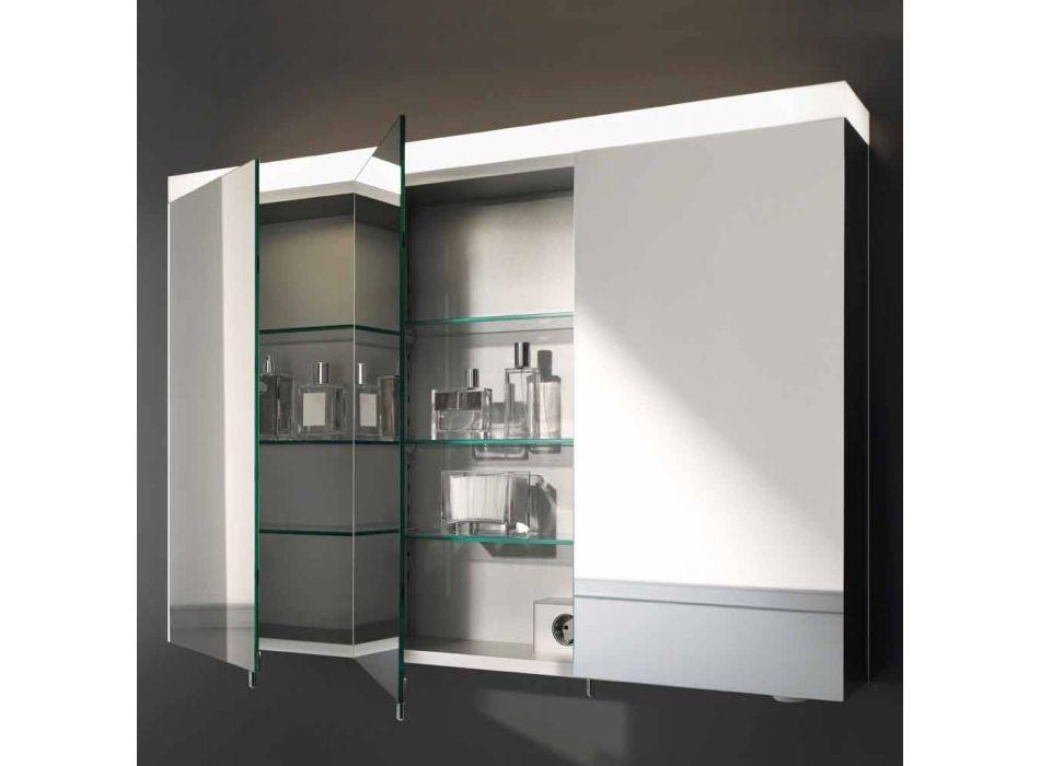 3 Door Wall Storage Mirror in Silver Painted Aluminum - Alfio