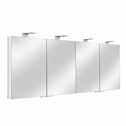Mirror Container with 4 Crystal Doors with 12 Shelves and 4 LED Lights - Maxi