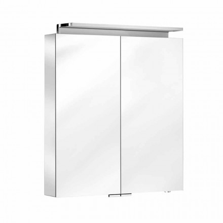 Wall Mirror with 2 Doors with LED Light and Power Sockets - Bramo