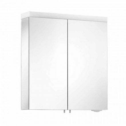 Mirror with 2 Doors in Silver Painted Aluminum, Modern Alfio