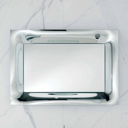Arin bathroom mirror with silver melted glass frame, modern design