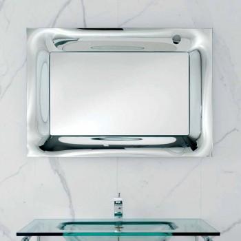 Bathroom mirror Arin silver-plated cast aluminum frame