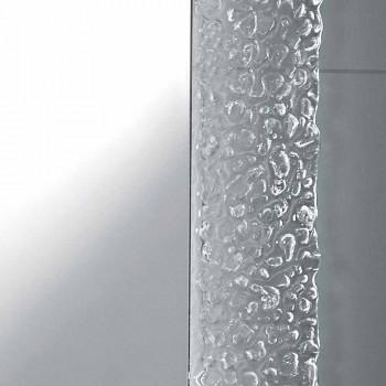 Contemporary bathroom mirror with decorative glass frame and Tara LED lights