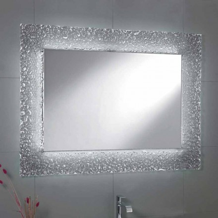 Tara bathroom mirror with glass frame and LED light, modern design
