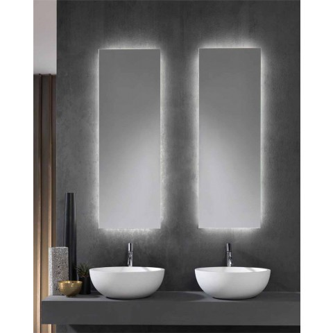 Wall Mirror with LED Backlighting on 4 Sides Made in Italy - Romio