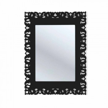 Black wall mirror with macrame Tonya made in Italy