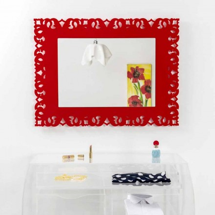 Red decorative wall mirror with macramé design Tonya, made in Italy