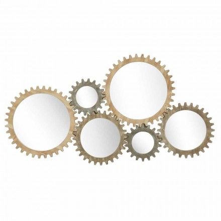 Modern Design Wall Mirror with Iron Gear - Regiano