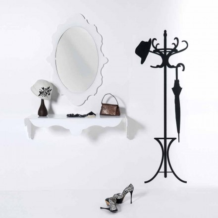 White wall mirror with a modern design Joy, made in Italy