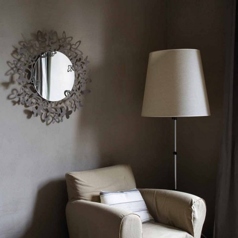 Circular Wall Mirror of Modern Design in Iron Made in Italy - Stelio