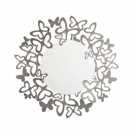 Circular Wall Mirror of Modern Design in Iron Made in Italy - Stelio