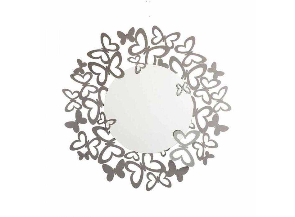 Modern Design Circular Wall Mirror in Iron Made in Italy - Stelio