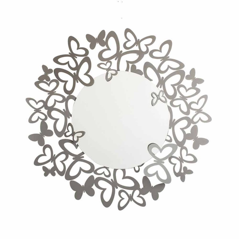 Modern Design Circular Wall Mirror in Iron Made in Italy - Stelio