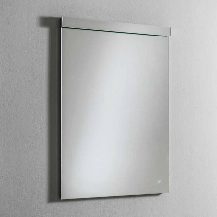 Wall Mirror with Integrated LED in Stainless Steel Made in Italy - Tuccio