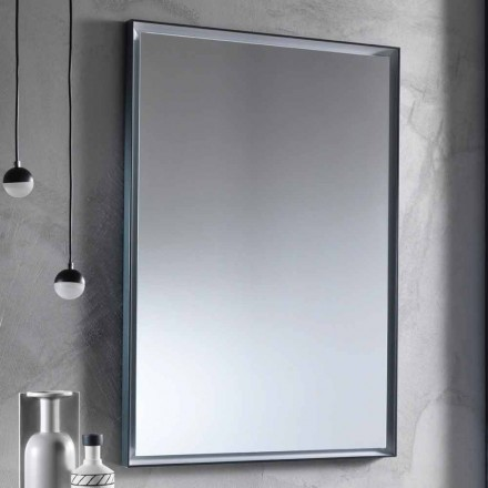 Wall Mirror with Aluminum Frame and LED Light Made in Italy - Chik