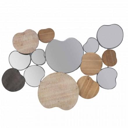 Modern Design Wall Mirror in Wood and Iron - Ortensio