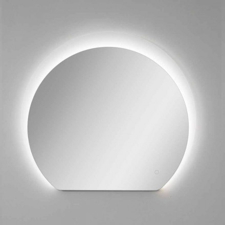 Modern Wall Mirror with Sandblasted Detail and LED Made in Italy - Rialto