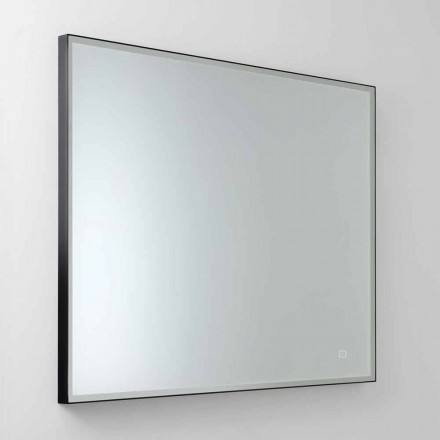 Square Wall Mirror with LED in Satin Glass Made in Italy - Mirro