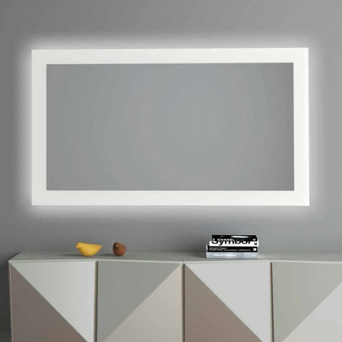 Backlit Wall Mirror with Sandblasted Frame Made in Italy - Edigio