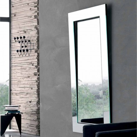 Rectangular Wall Mirror with Inclined Frame Made in Italy - Salamina