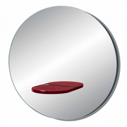 Round Wall Mirror with Colored Glass Shelf Made in Italy - Eliza