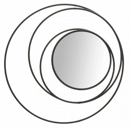 Round Wall Mirror of Modern Design in Iron, Selda