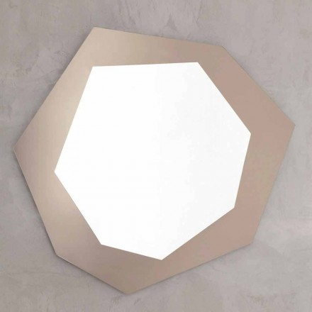 Shaped Wall Mirror with Glass Frame Made in Italy - Chlorine