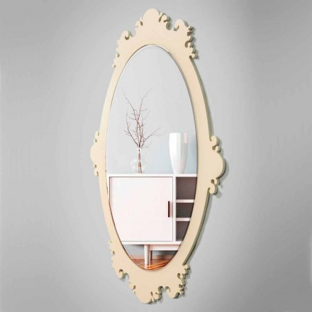 Vintage Brown Wood Design Wall Mirror with Frame - Giangio