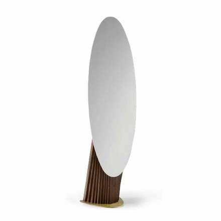 Luxury Floor Mirror in Ash Wood and Metal Made in Italy - Cuspide