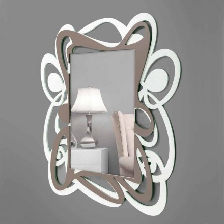 Large Modern Design White and Beige Decorative Wall Mirror - Bocchio