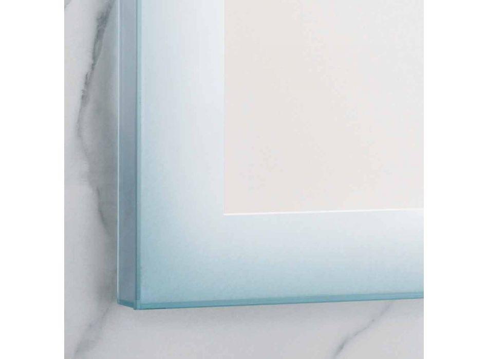 Contemporary mirror with satin glass edges, LED illumination, Ady