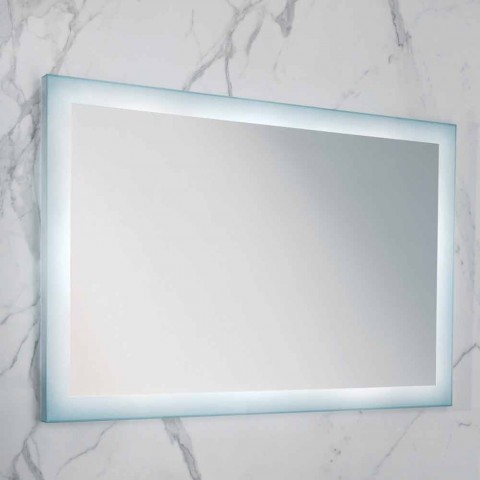 Contemporary mirror with satin glass edges, LED illumination, Ady