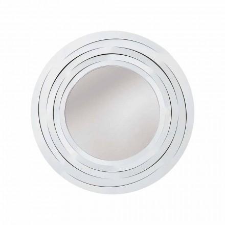 Modern Circular Wall Mirror in Colored Iron Made in Italy - Oregano