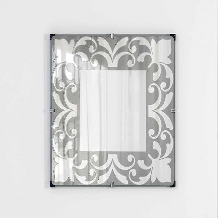 Square wall mirror with floral decoration, Barcis