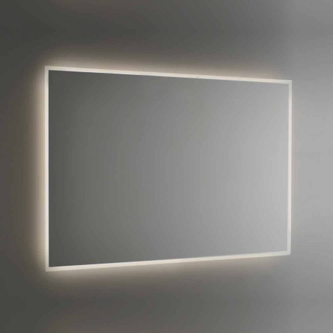 Backlit Bathroom Mirror with Sandblasted Frame Made in Italy - Floriana
