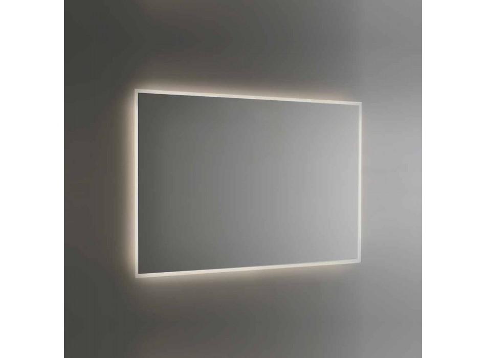 Backlit Bathroom Mirror with Sandblasted Frame Made in Italy - Floriana