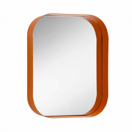 Rounded Rectangular Mirror, Metal Frame Made in Italy - Alexandra