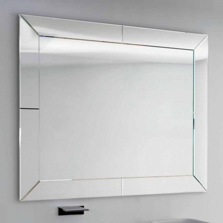 Dedalo modern bathroom mirror with cut glass frame, H120xL120 cm