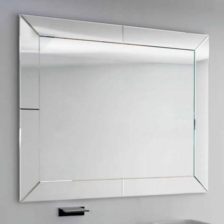 Dedalo modern bathroom mirror with cut glass frame, H120xL120 cm