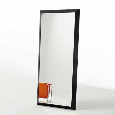 Design Wood Mirror Covered in Squared Leather - Large Queen Model